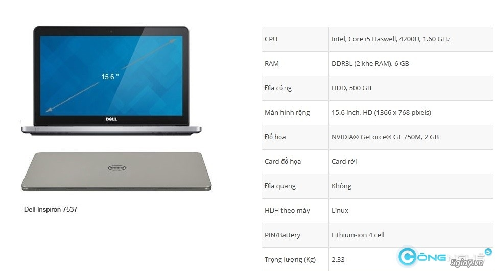Đặt trước Dell Inspiron 7537 nhận ngay quà khủng - 3890