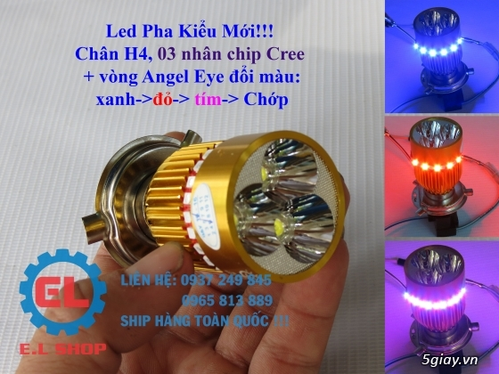 E.L SHOP Đèn led siêu sáng xe mô tô: XHP50, XHP70 i7, Cree, Philips Lumiled,Gương cầu LED xe gắn máy - 39