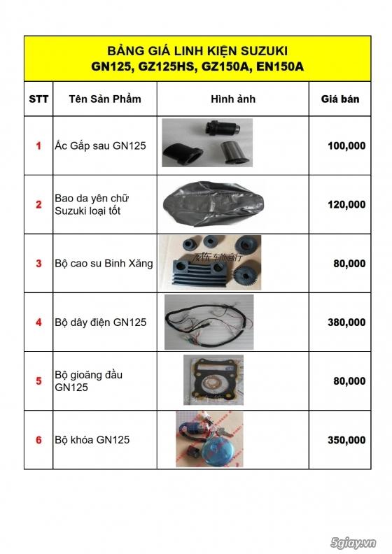 Linh phụ kiên - phụ tùng xe moto suzuki: gn125, gz125hs, gz150a, en150a,...
