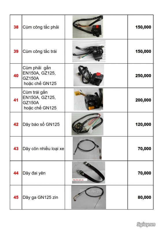 Linh phụ kiên - phụ tùng xe moto suzuki: gn125, gz125hs, gz150a, en150a,... - 5