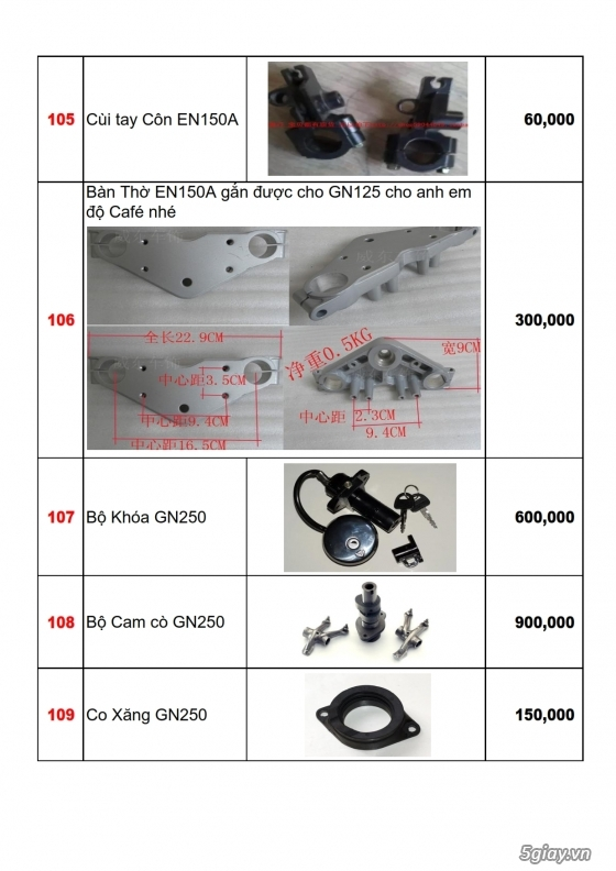 Linh phụ kiên - phụ tùng xe moto suzuki: gn125, gz125hs, gz150a, en150a,... - 14