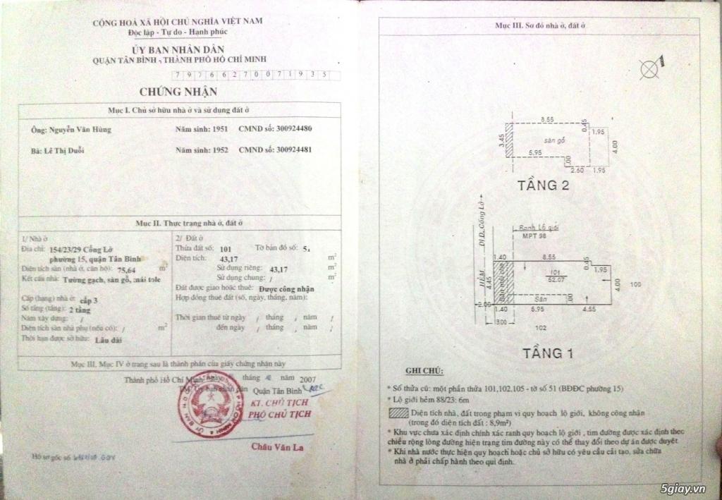 Cần bán nhà hẻm Cống Lở, P.15, Q. Tân Bình