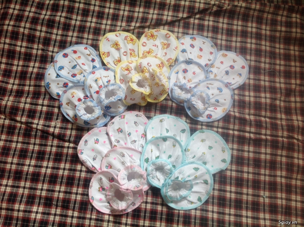 Áo quần cotton trẻ sơ sinh 12k, nón khăn bao tay chân, vớ giá rẻ new 100% hàng mới update - 14