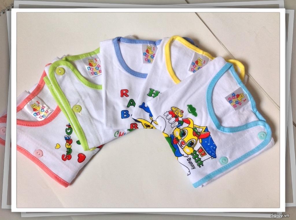 Áo quần cotton trẻ sơ sinh 12k, nón khăn bao tay chân, vớ giá rẻ new 100% hàng mới update - 1