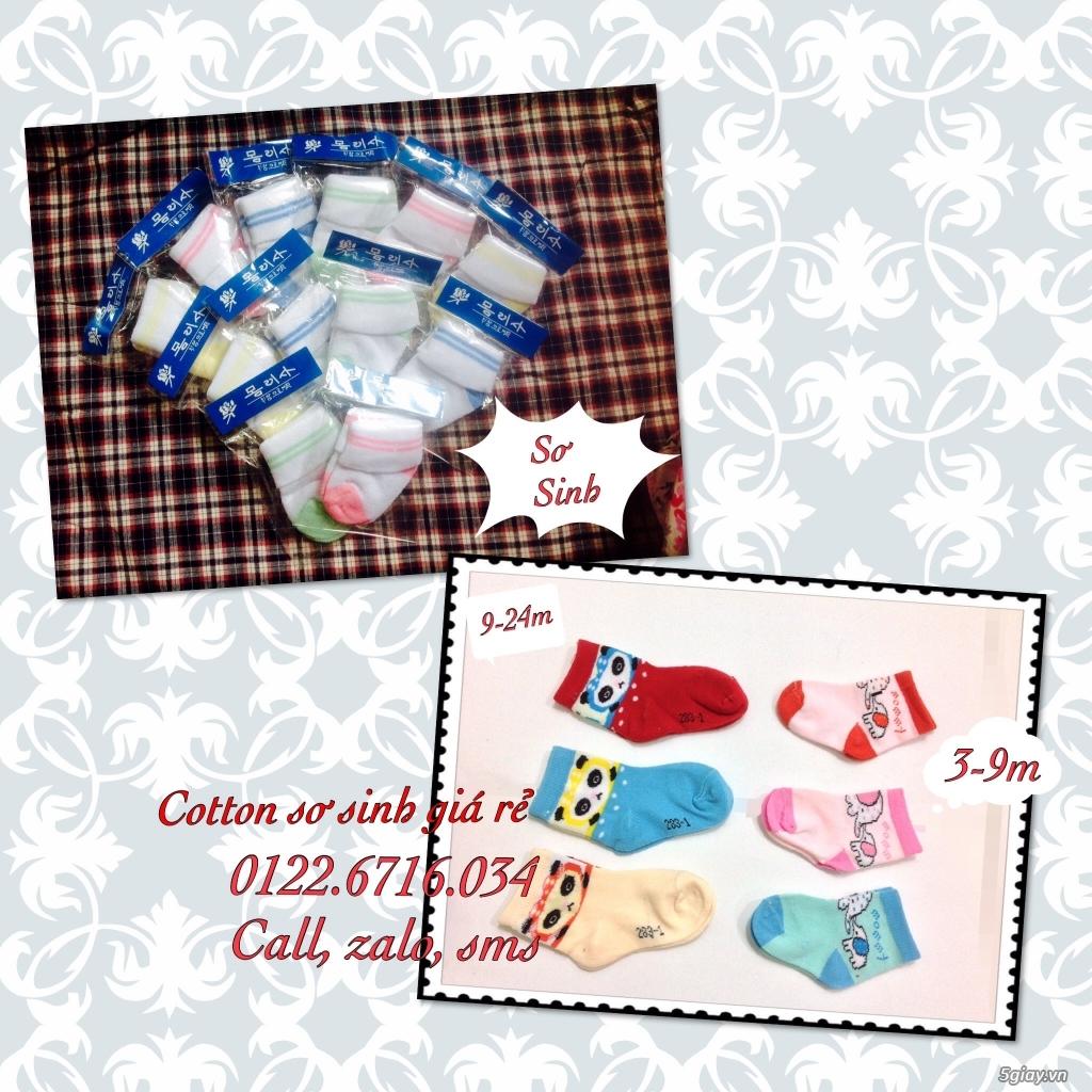Áo quần cotton trẻ sơ sinh 12k, nón khăn bao tay chân, vớ giá rẻ new 100% hàng mới update - 22