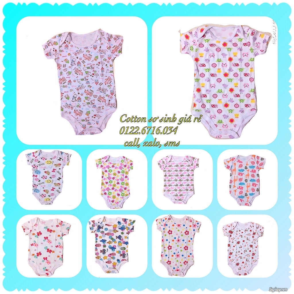 Áo quần cotton trẻ sơ sinh 12k, nón khăn bao tay chân, vớ giá rẻ new 100% hàng mới update - 5