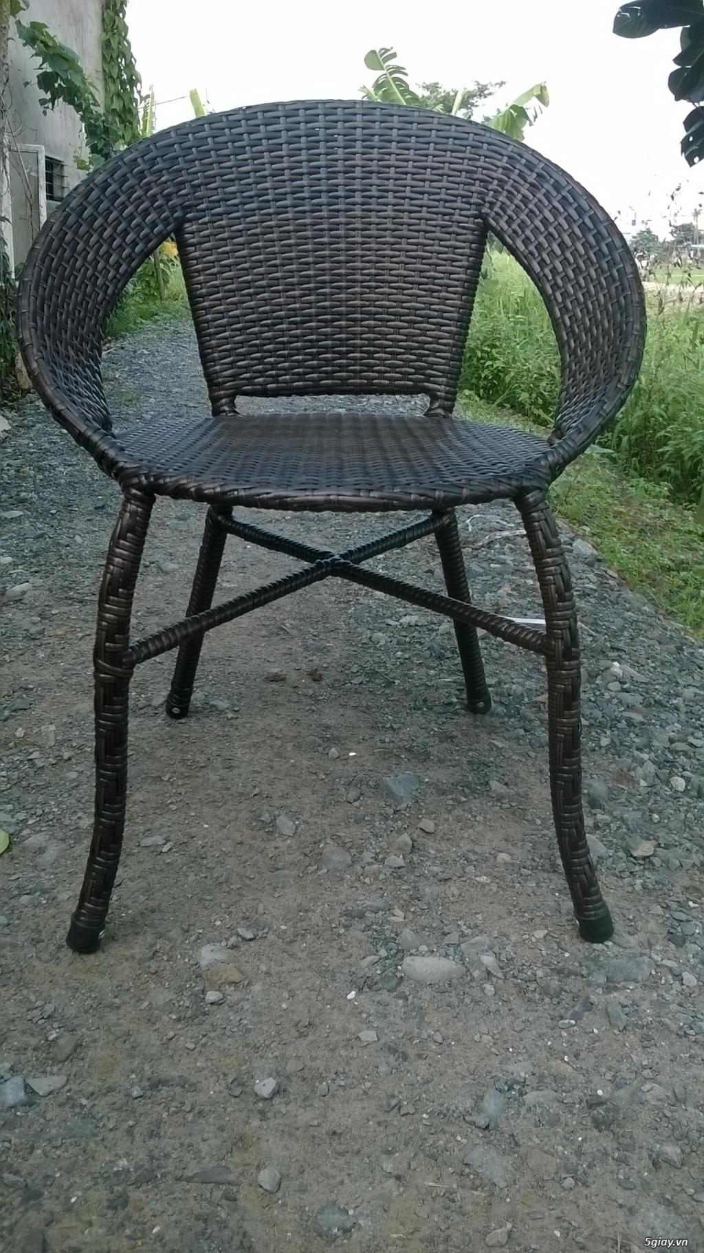 bàn ghế cà fe nhựa giả mây - 4