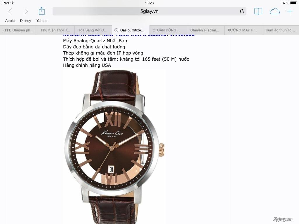 Shopmrhi.com, đồng hồ Casio, Citizen, Seiko, Timex, Kenneth Cole, Fossil, DW hàng chính hãng 100%