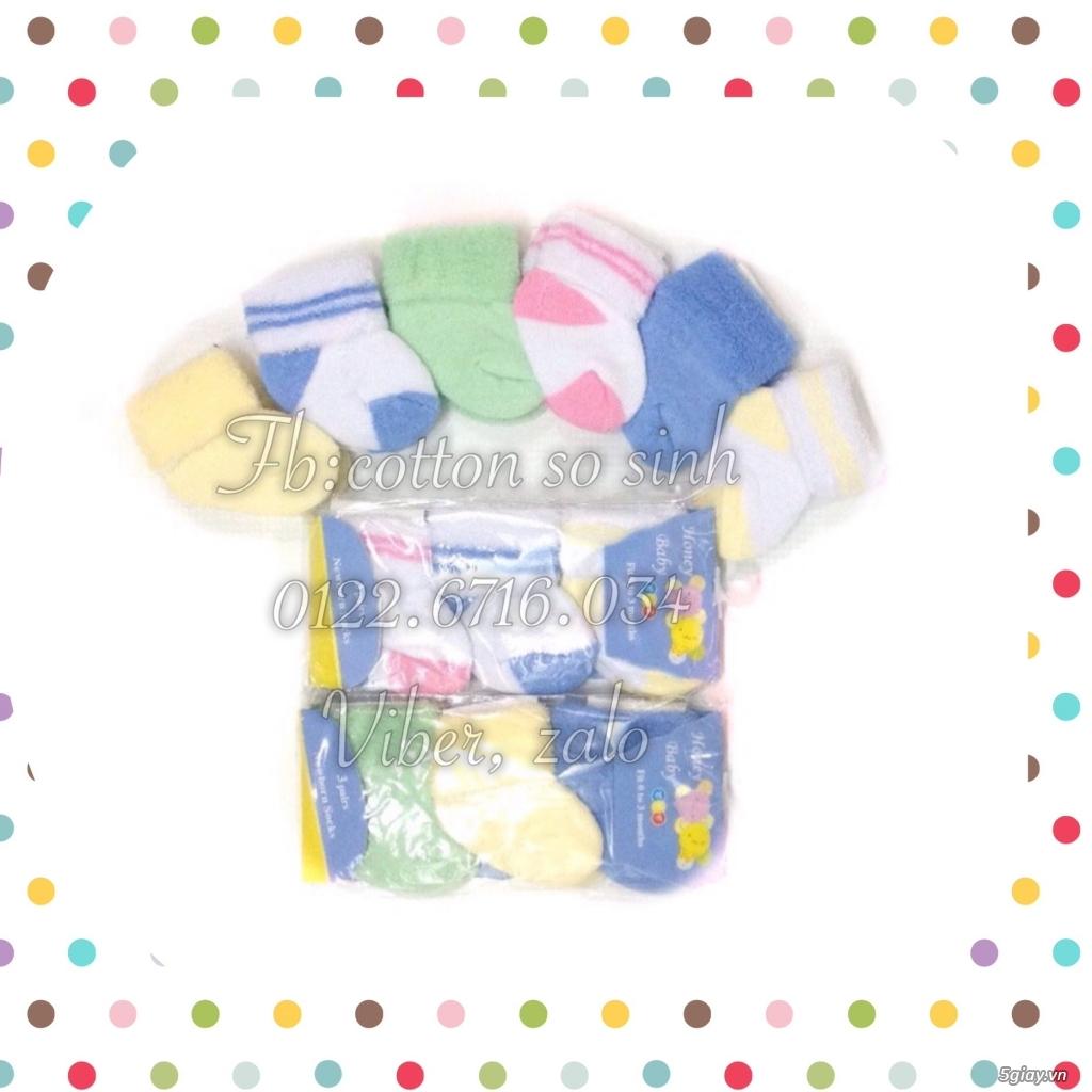 Áo quần cotton trẻ sơ sinh 12k, nón khăn bao tay chân, vớ giá rẻ new 100% hàng mới update - 35