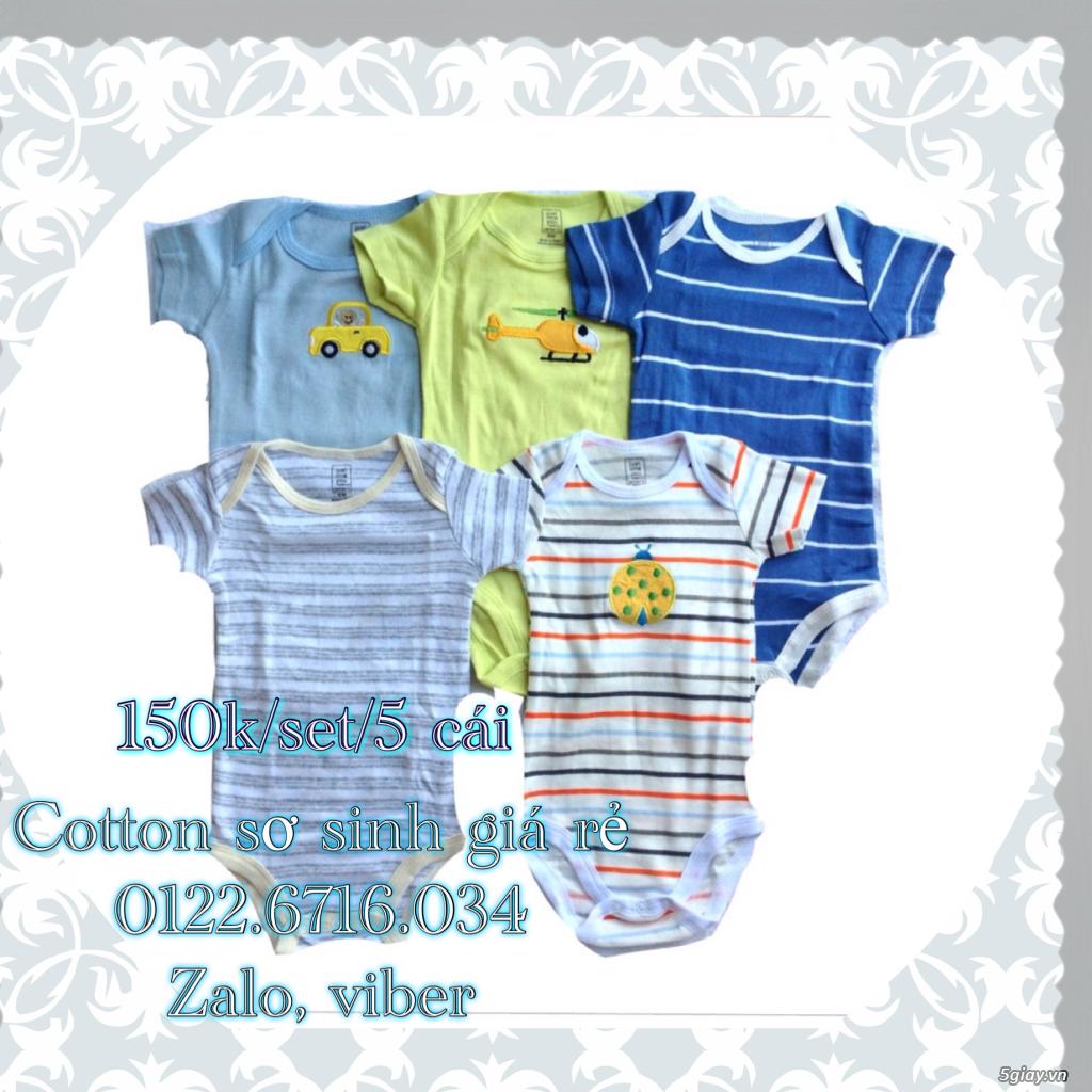 Áo quần cotton trẻ sơ sinh 12k, nón khăn bao tay chân, vớ giá rẻ new 100% hàng mới update - 4