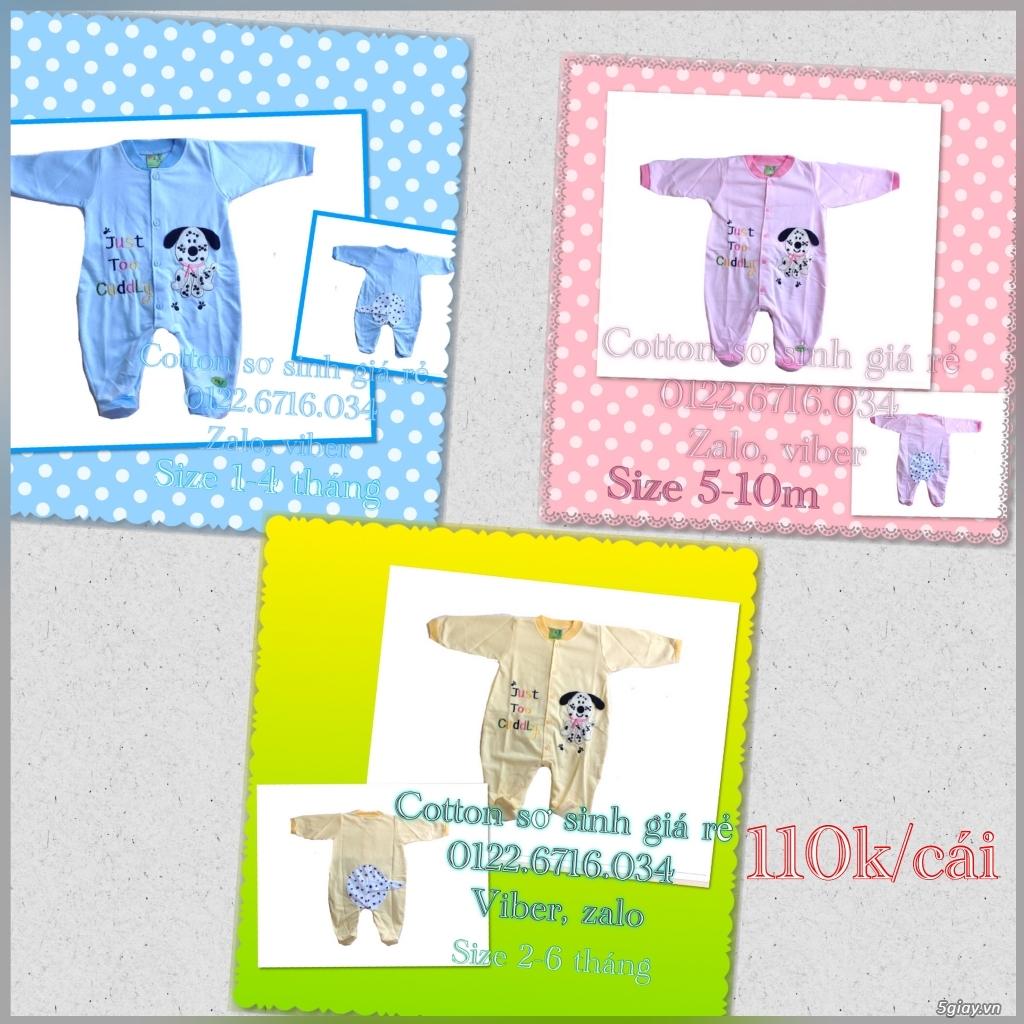 Áo quần cotton trẻ sơ sinh 12k, nón khăn bao tay chân, vớ giá rẻ new 100% hàng mới update - 3