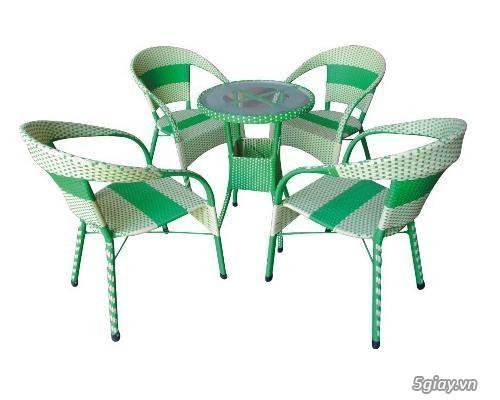 bàn ghế cà fe nhựa giả mây - 1