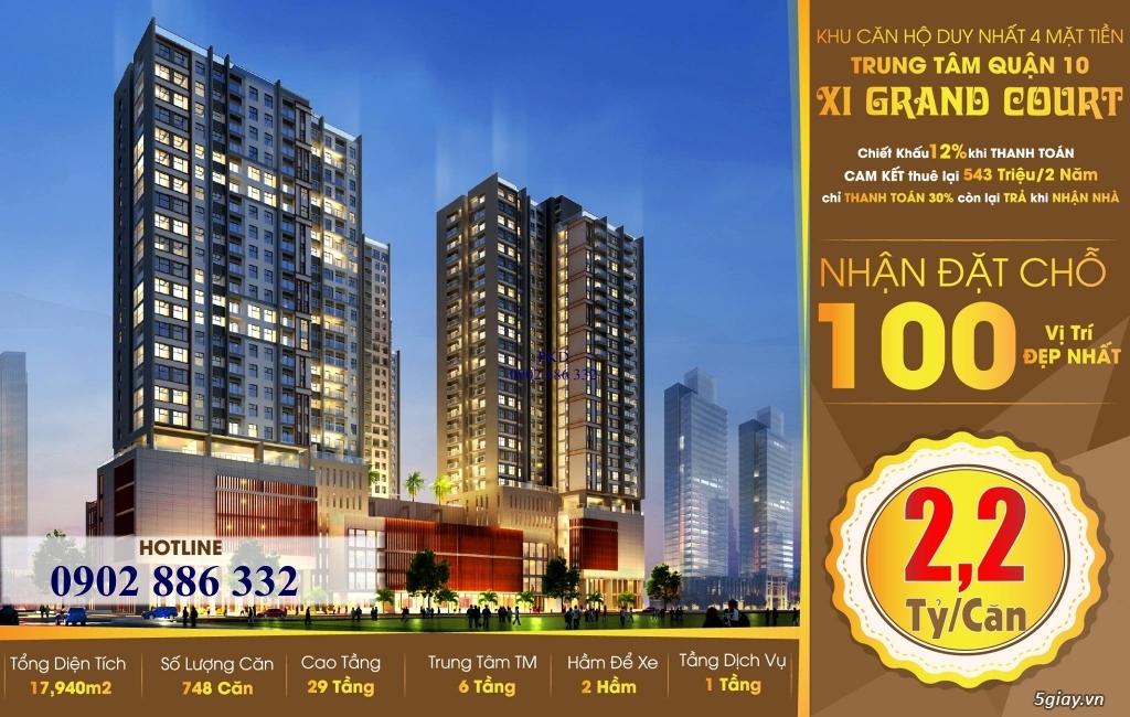 Xi Grand Court cam kết thuê lại 2 năm với 550tr, TT 30% nhận nhà