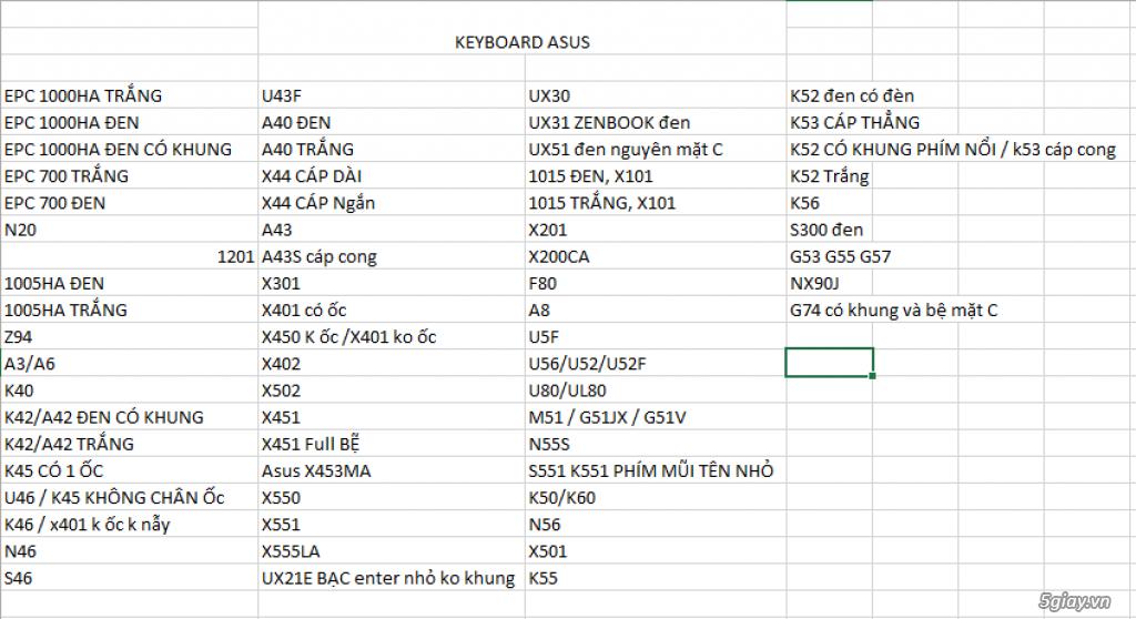 Chuyên cung cấp các loại SẠC, PIN, KEYBOARD,RAM,MÀN HÌNH  laptop - 16