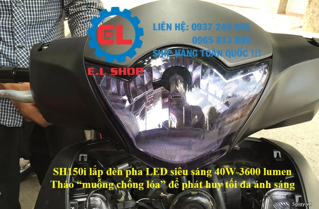 E.L SHOP Đèn led siêu sáng xe mô tô: XHP50, XHP70 i7, Cree, Philips Lumiled,Gương cầu LED xe gắn máy