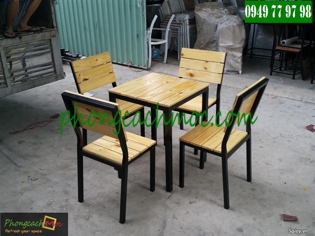 Bàn ghế cafe - Bàn ghế gỗ cafe - Ban ghế quán cafe - Thi công nội thất quán cafe - 5