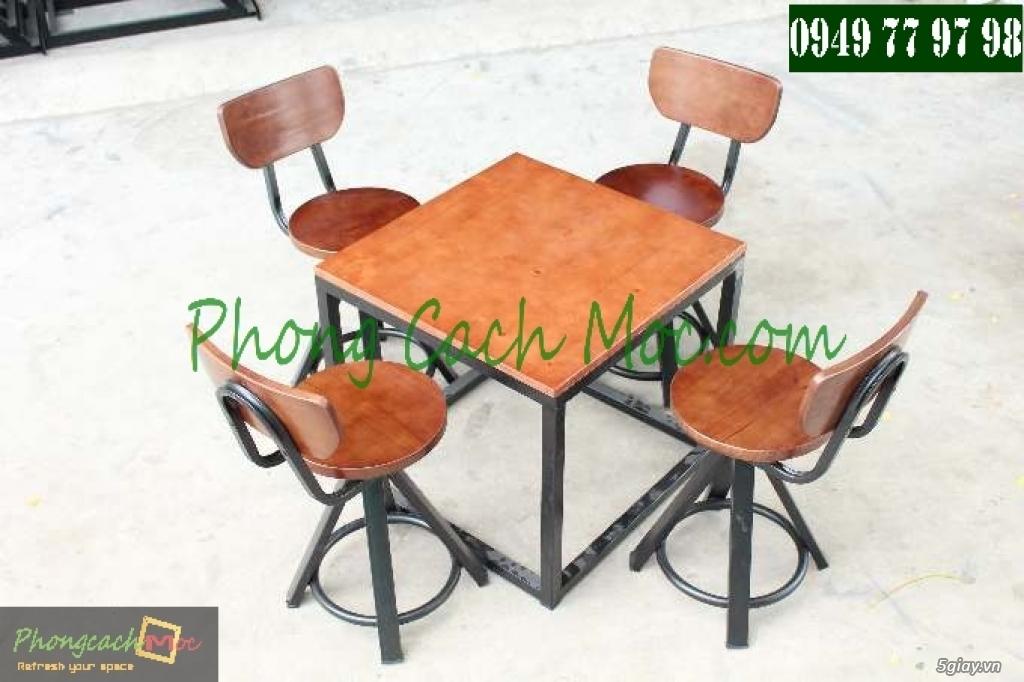 Bàn ghế cafe - Bàn ghế gỗ cafe - Ban ghế quán cafe - Thi công nội thất quán cafe - 9