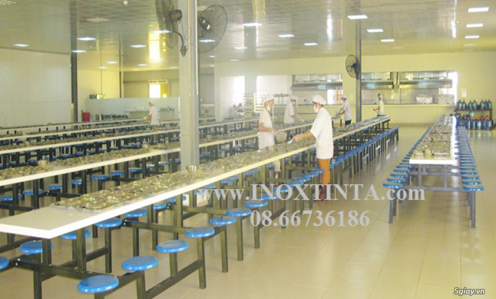 BÀN GHẾ INOX NHÀ ĂN CÔNG NHÂN, BÀN GHẾ INOX NHÀ ĂN, BÀN GHẾ INOX TINTA Tel: 08.66736186 - 2