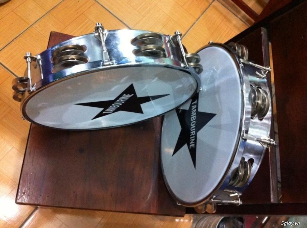 Trống gõ bo, trống lục lạc cầm tay, trống tambourine, trống lắc tay chơi nhạc chế - 13