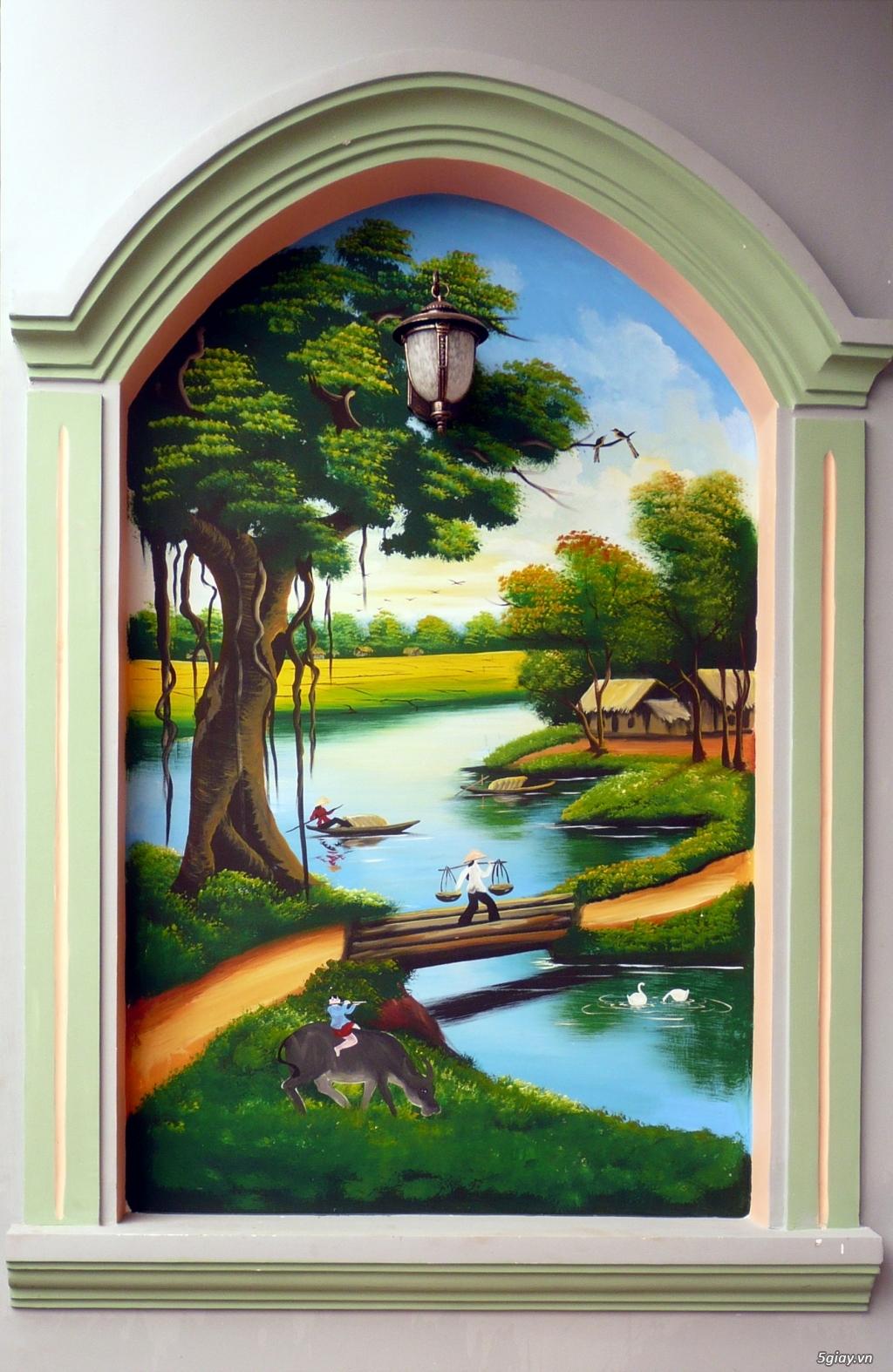 chuyên nhận vẽ các loại tranh tường,tranh đắp,phù điêu,giả đá,giả gỗ làm hòn non bộ.. - 6