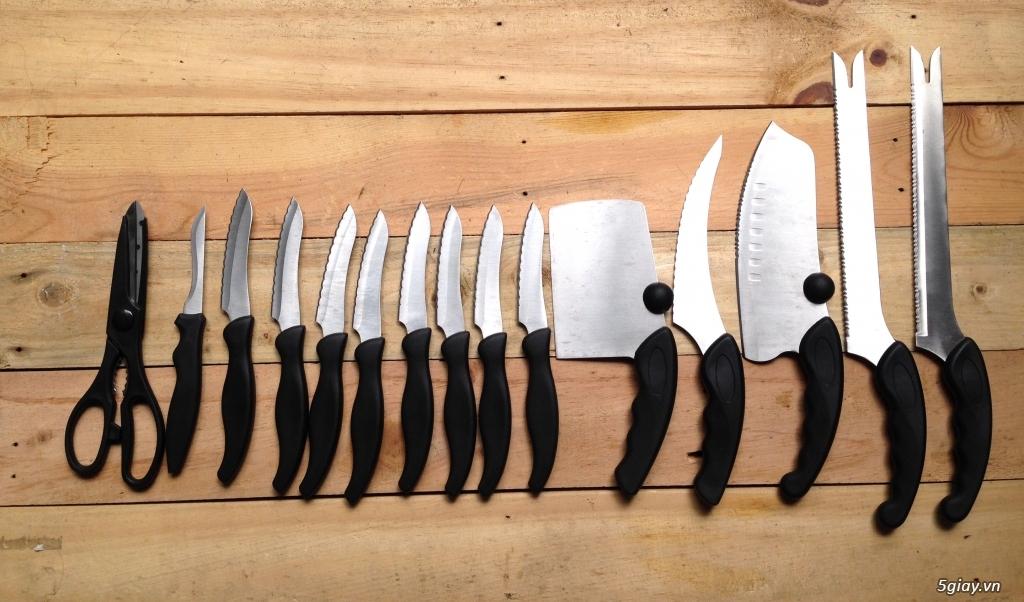 Bộ dao thép ko ghỉ 15 món hàng xuất châu Âu