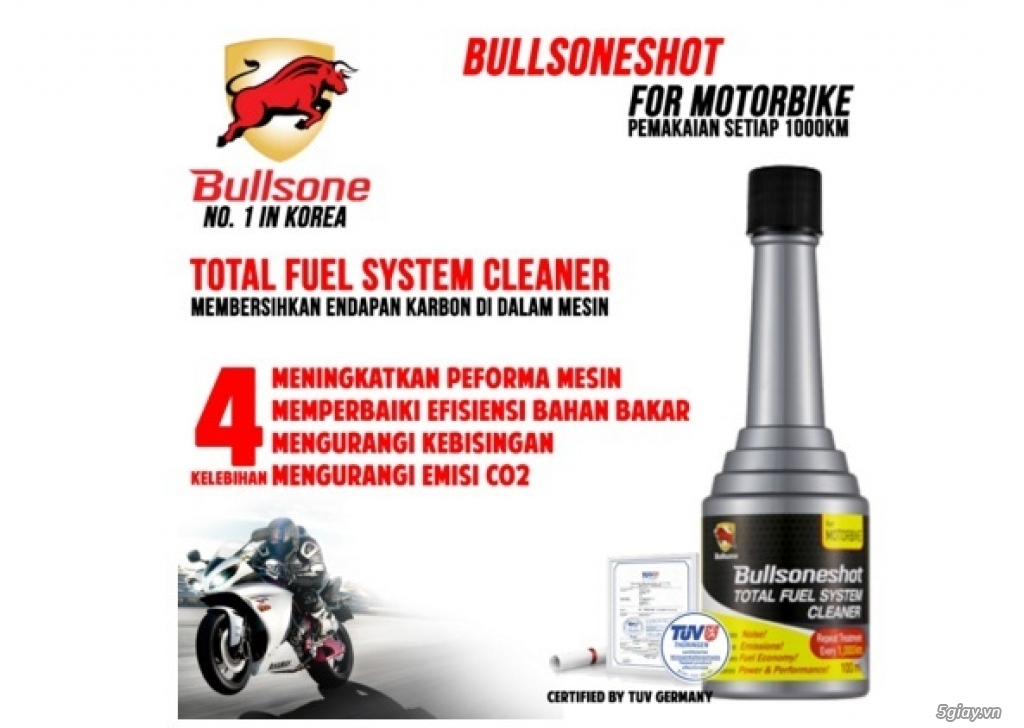 Bullsone MotorBike Làm sạch hệ thống nhiên liệu – Tăng cường sức mạnh động cơ