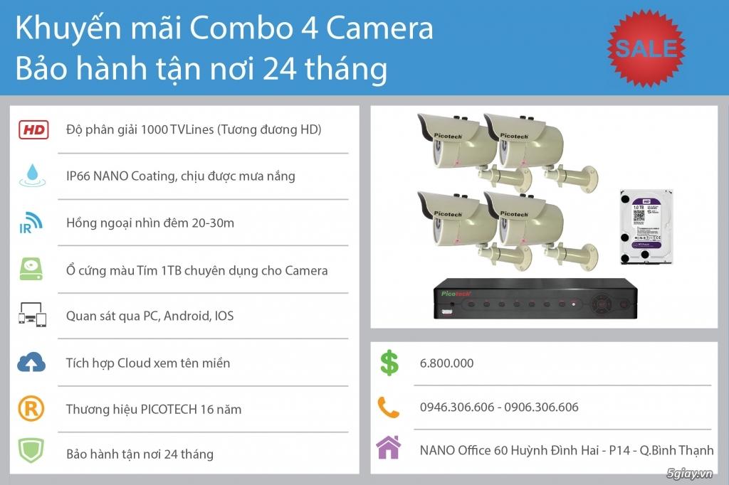 Khuyến mãi Combo 4 Camera Quan Sát Bảo Hành 24 Tháng Giá 6T8