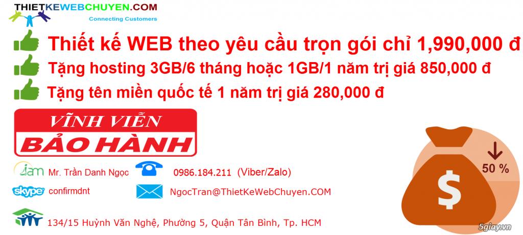 Thiết kế web trọn gói CHỈ 1.990.000 VND 0986.184.211 (VIBER,ZALO) (Mr. Ngọc)
