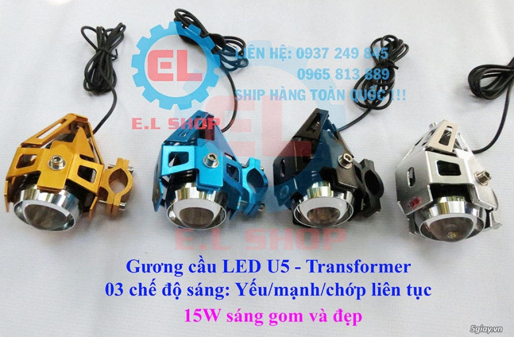 E.L SHOP Đèn led siêu sáng xe mô tô: XHP50, XHP70 i7, Cree, Philips Lumiled,Gương cầu LED xe gắn máy - 32