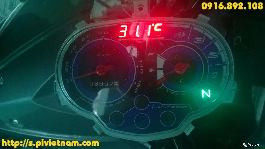 [LED]Đồng hồ báo giờ cho xe máy 3in 1: giờ phút, Volt, độ C - 16