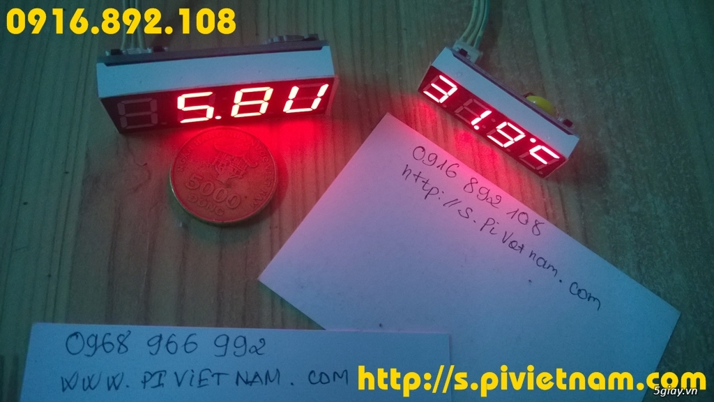 [LED]Đồng hồ báo giờ cho xe máy 3in 1: giờ phút, Volt, độ C