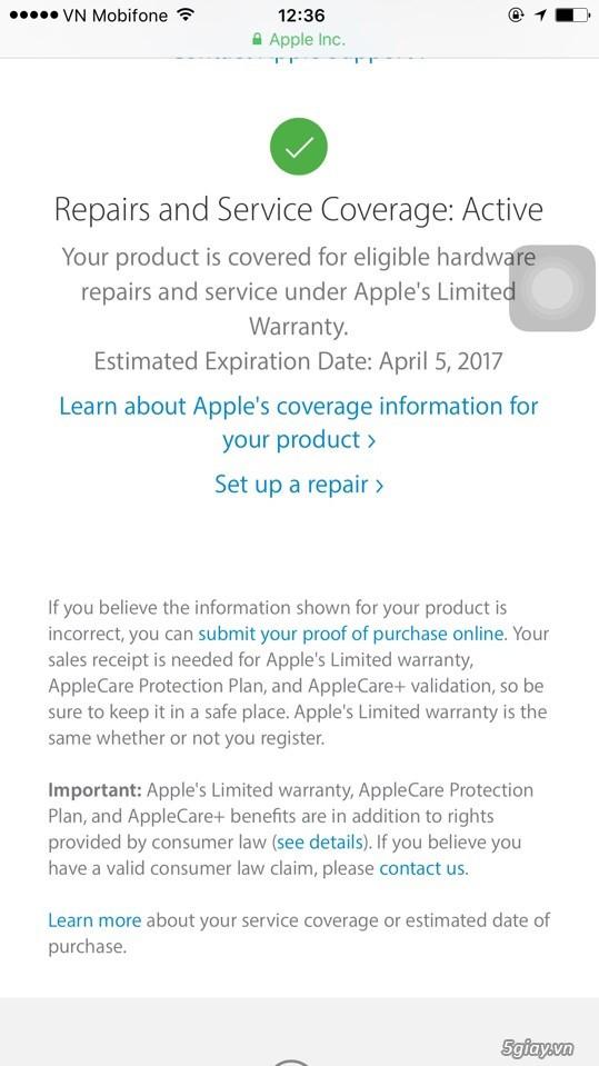 iPhone 6s 16Gb gold xách tay còn BH 04/2017 tại Apple VN (A1688) - 1