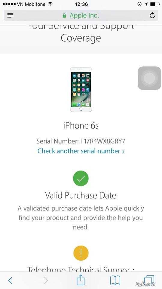 iPhone 6s 16Gb gold xách tay còn BH 04/2017 tại Apple VN (A1688) - 2