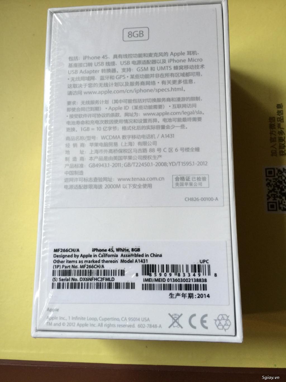 iphone 4s 8G Màu Trắng quốc tế CH/A Fullbox nguyên seal chưa active mới 100% - 2