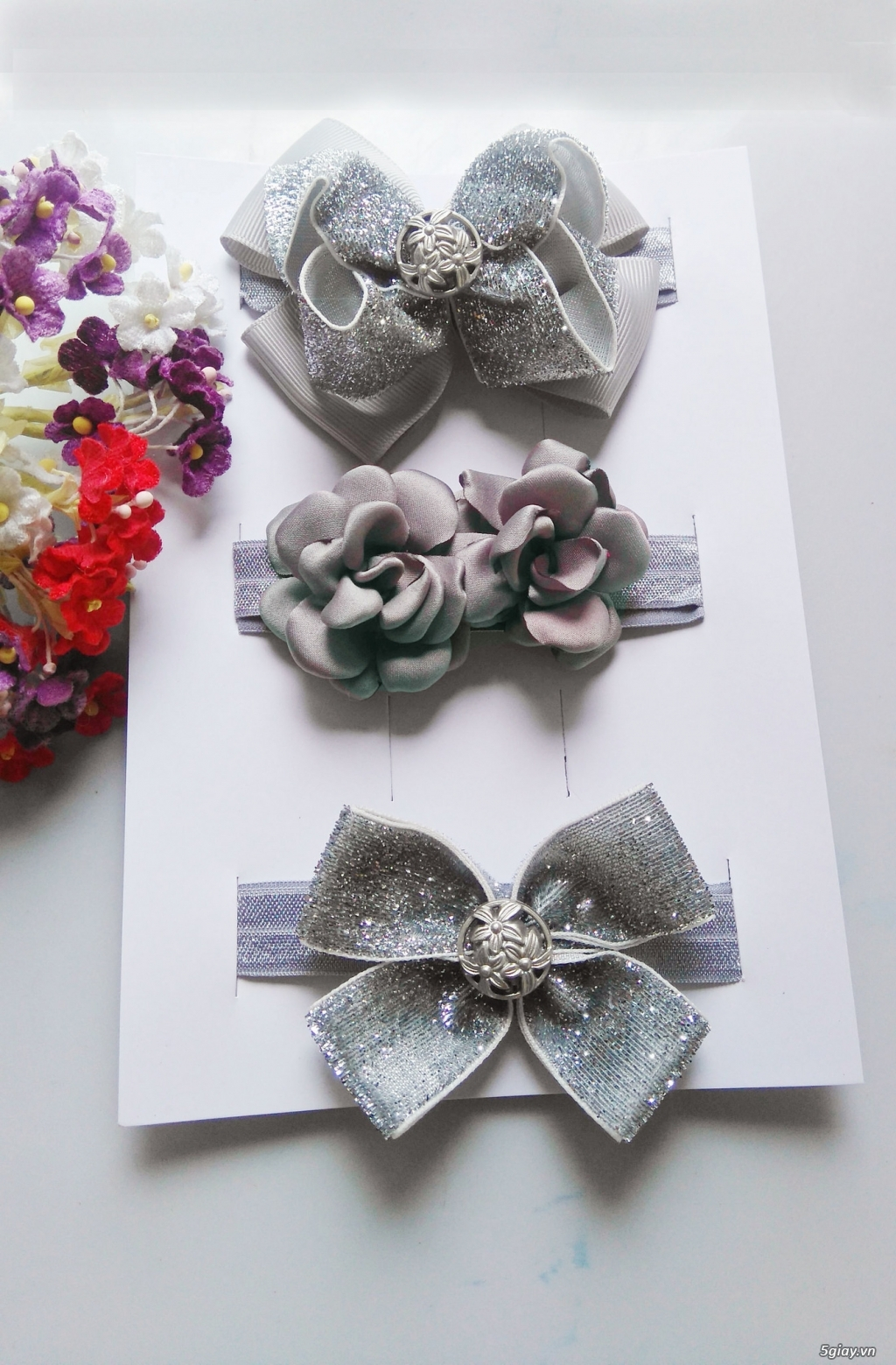 Phụ kiện handmade :turban, băng đô, cột, kẹp, nơ bướm - 2