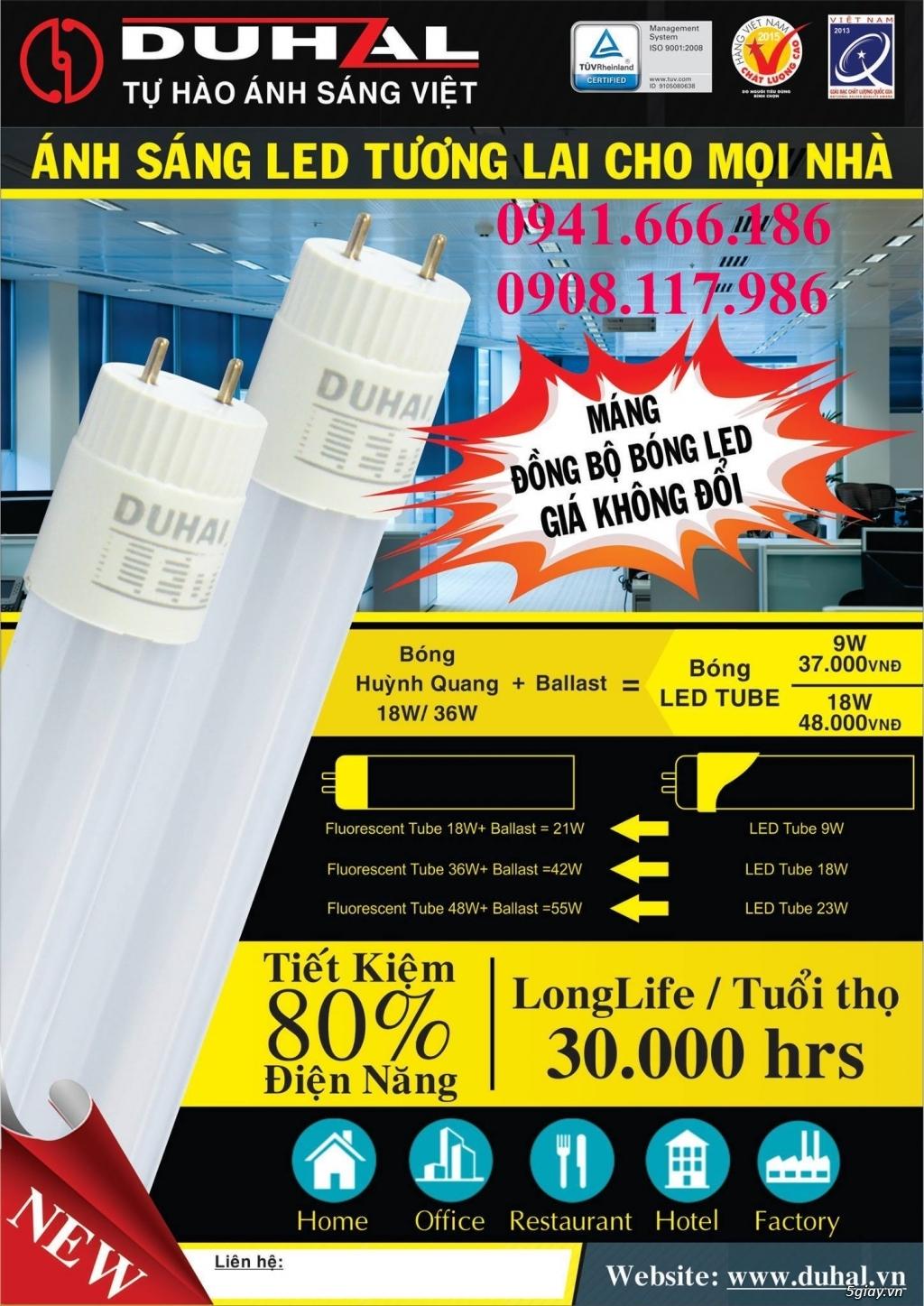 Bộ đèn led 1.2m Duhal (bao gồm bóng led và máng nhôm) - 2