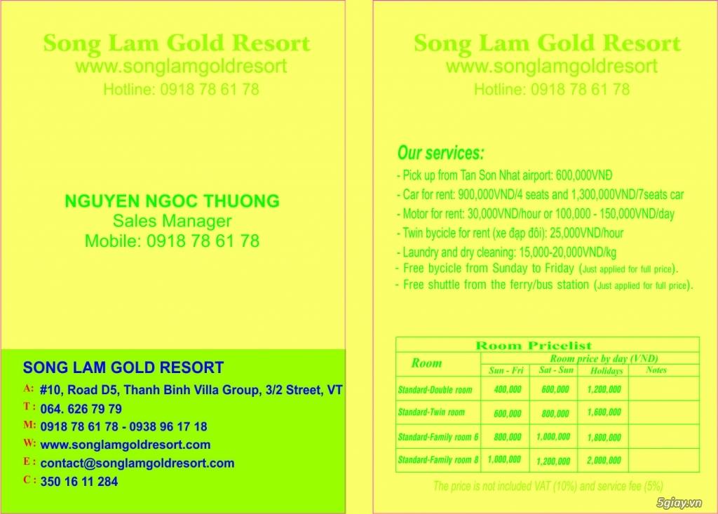 Resort giá rẻ cho anh em 5giay - Song Lam Gold Resort - 5