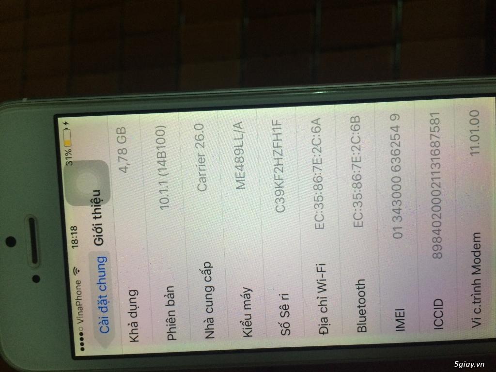 iphone 5 lock 32G cu white vỏ zin - 4