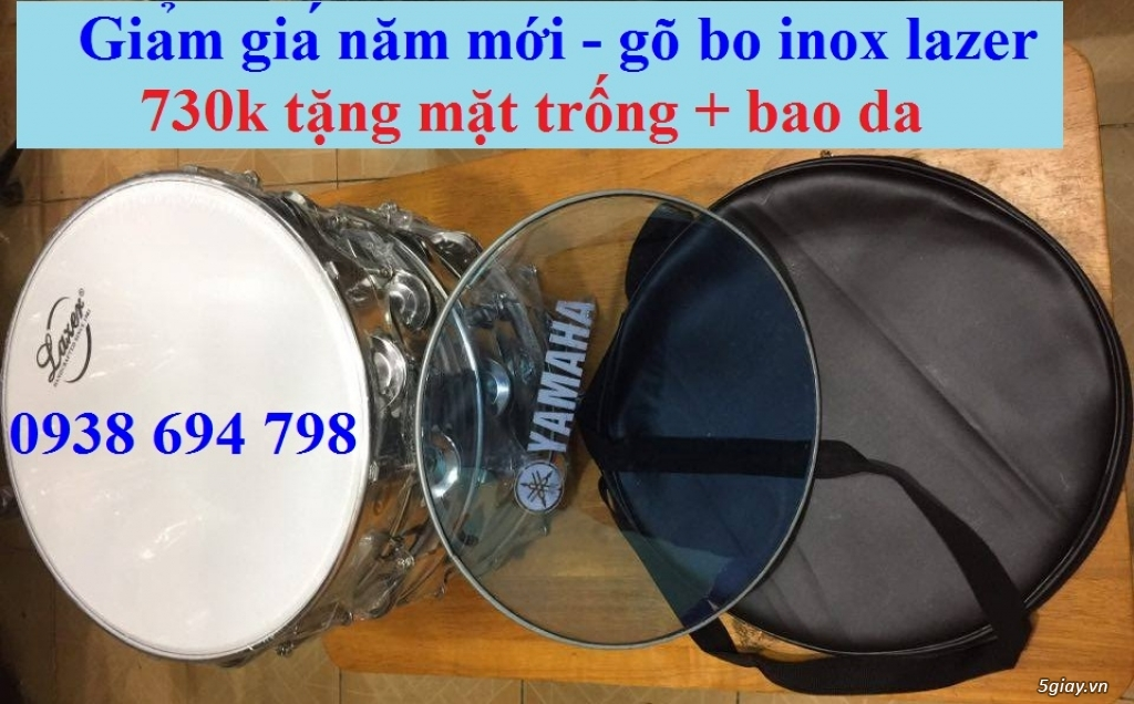 Trống gõ bo, trống lục lạc cầm tay, trống tambourine, trống lắc tay chơi nhạc chế - 2