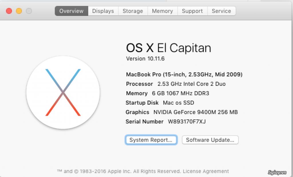 Cần bán macbook pro 15.4 inch mid 2009 giá 6,1tr - 2