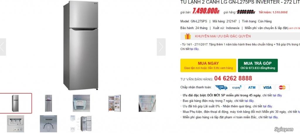 Dư dùng nên bán nhanh tủ lạnh LG-275PS mới mua 20 ngày