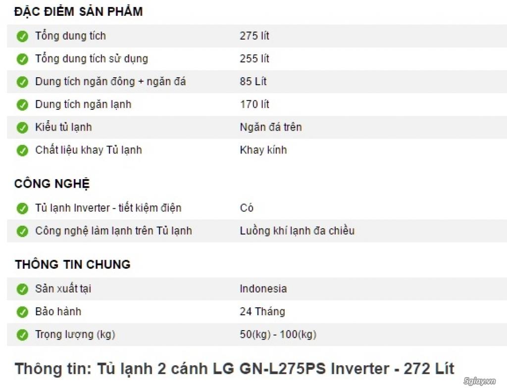 Dư dùng nên bán nhanh tủ lạnh LG-275PS mới mua 20 ngày - 1