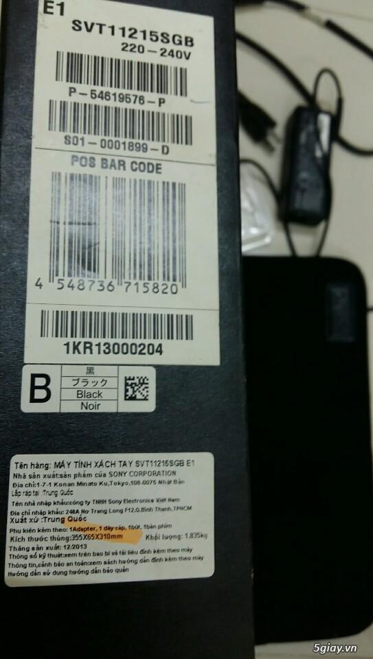 LAPTOP - HàngHiếm-Sony Vaio TAP 11 Tablet Touch 2014 Siêu Nhẹ780gam,ThếHệ4,Core Likenew 99%- Giá Tốt - 48