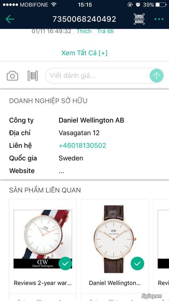 HCM - Daniel Weillington chuẩn Auth xách tay giá 1/2 cửa hàng