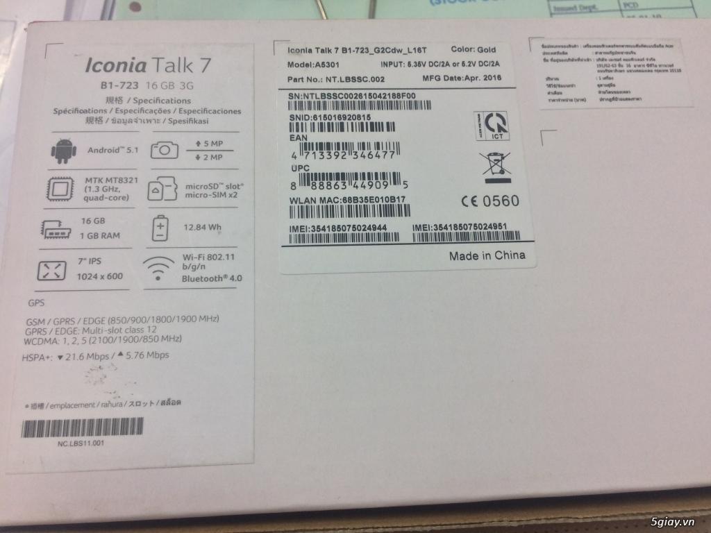 ACER ICONIA máy tính bảng 2 SIM 2 Sóng còn BH 10 tháng THEGIOIDIDONG