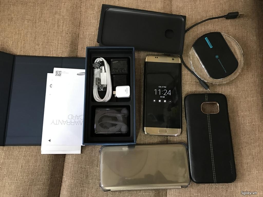Samsung S7 Edge Gold, hàng Chính Hãng , kèm S View, Sạc Ko Dây, bao da - 4
