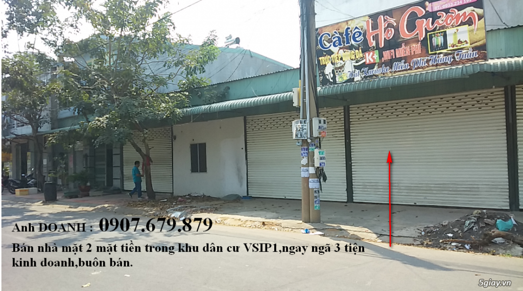 Bán nhà đất mặt tiền ngã 3 khu dân cư VSIP 1 - Sổ hồng - có 3 Kiot - 7