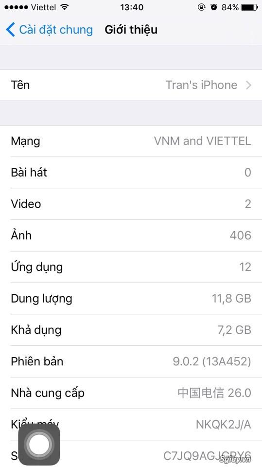 Bán iphone 6s-16gb-silver-lock nhật 99% zin all nguyên bản ios 9.0.2 - 6