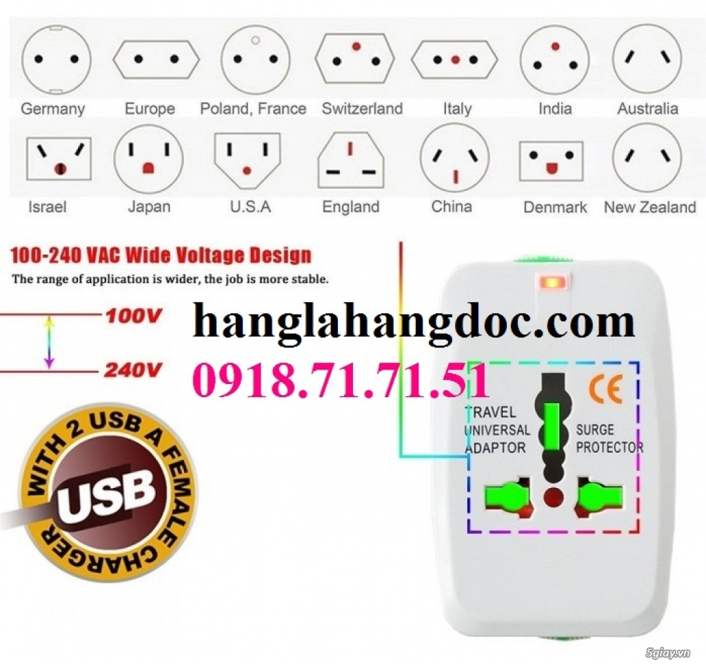 O cam da nang du lich co cong usb travel adapter gia re - 2
