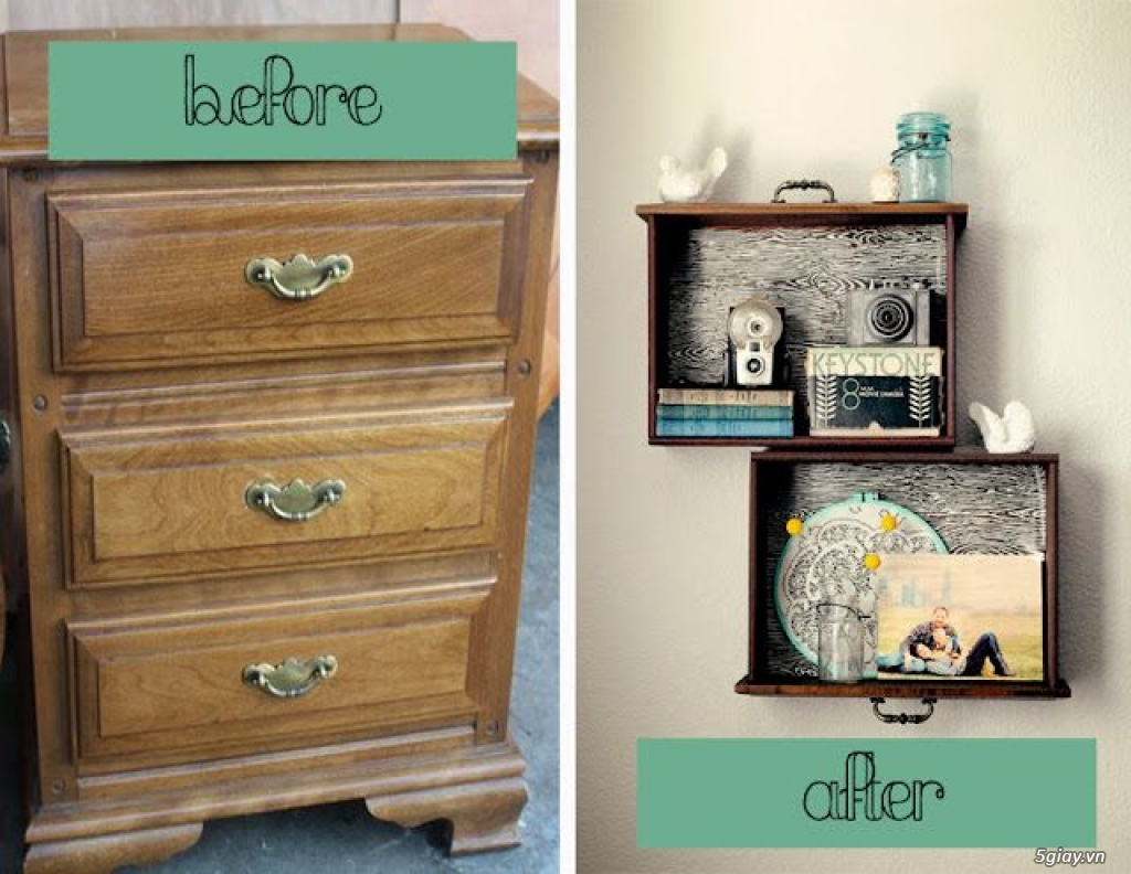 Ý tưởng sáng tạo tận dụng những chiếc ngăn kéo tủ cũ - 197505